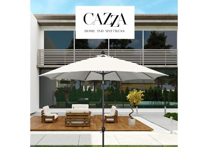 Image for CAZZA 9' Bronze Aluminum Patio Umbrella with Fiberglass Ribs Crank Lift 3-Ways Tilt in Natural Polyester