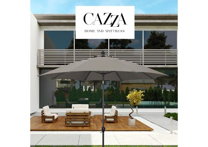 Image for CAZZA 9' Bronze Aluminum Patio Umbrella with Fiberglass Ribs Crank Lift 3-Ways Tilt in Taupe Polyester