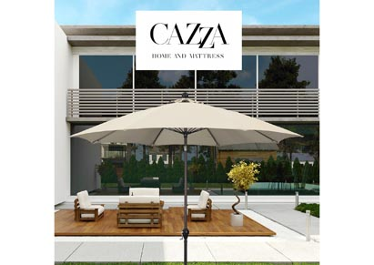Image for CAZZA 9' Bronze Aluminum Patio Umbrella with Fiberglass Ribs Crank Lift 3-Ways Tilt in Beige Polyester
