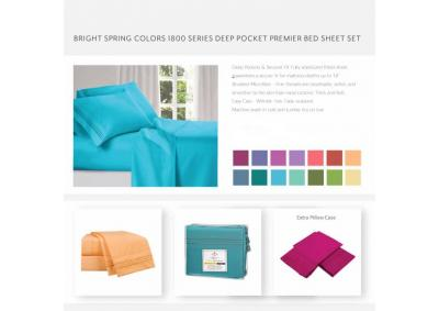 Image for Bright Color 1800 Series Deep Pocket KING Sheets Set