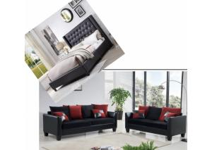 Image for Overflow Black Upholstered Queen Bed & 2 Piece Black/Red Living Room Set