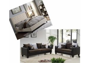 Image for Overflow Beige Upholstered Queen Bed & Brown 2 Piece Living Room Set