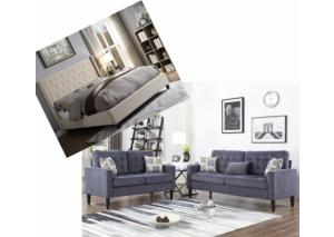 Image for Overflow Beige Upholstered Queen Bed & Grey 2 Piece Living Room Set