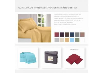 Image for Neutral Colors 1800 Series Deep Pocket KING premier Sheets Set