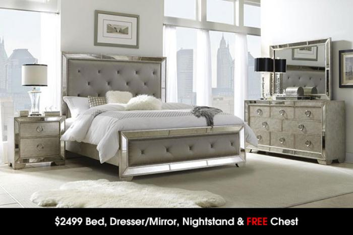 $2499 Bed, Dresser/Mirror, Night Stand & FREE CHEST ,Cohen's Closeout Specials