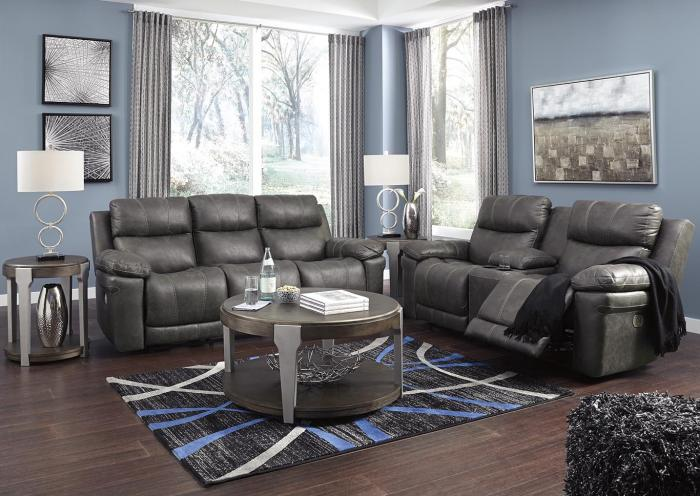 Elangen Midnight Power Reclining Sofa w/Adjustable Headrest,In-Store Product
