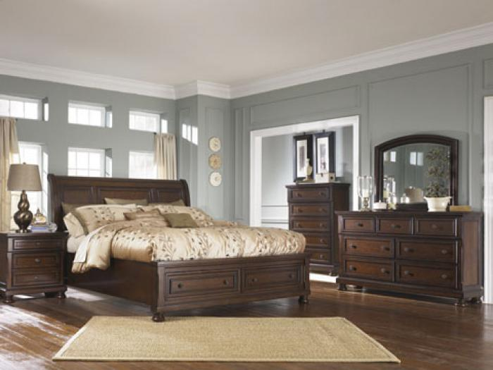 Porter Brown King Sleigh Storage Bed,In-Store Product