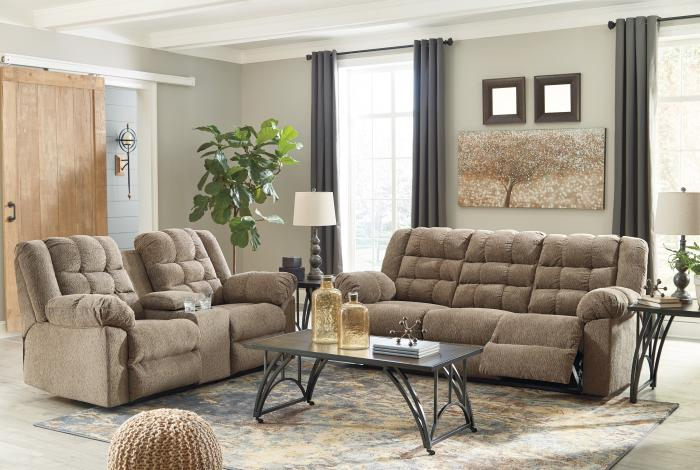 Workhorse Cocoa Reclining Sofa and Loveseat w/Console,In-Store Product