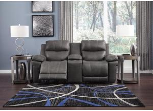Image for Elangen Midnight Power Reclining Loveseat w/Storage Console & Adjustable Headrest