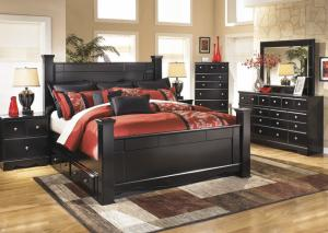 Image for Shay Queen Poster Bed w/Dresser, Mirror, and Five-Drawer Chest