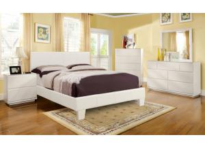Image for Leatherette Queen White Platform Bed