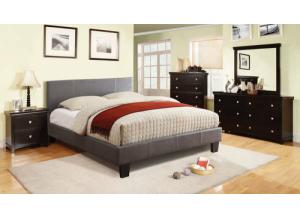 Image for Leatherette Full Gray Platform Bed