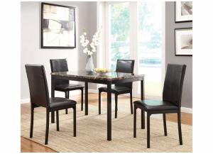 Image for Tempe Brown Faux Marble Top 5Pc Set ( Table & 4 Chairs)