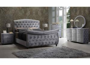 Image for Hudson Grey Upholstered Queen Sleigh Bed w/Dresser and Mirror