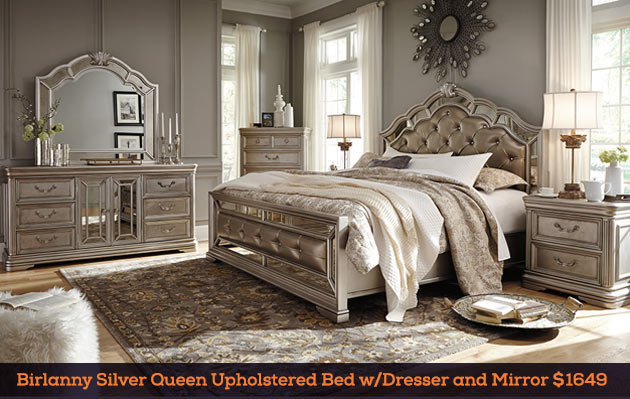 Birlanny Silver Queen Upholstered Bed w/Dresser and Mirror $1649
