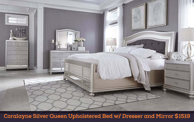 Coralayne Silver Queen Upholstered Bed w/ Dresser and Mirror $1519
