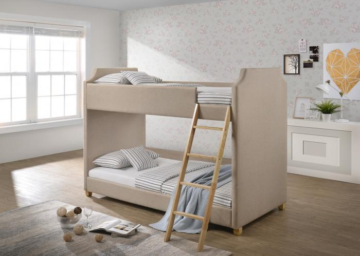 Olivia Tan Twin Upholstered Bunk Bed Feel At Home