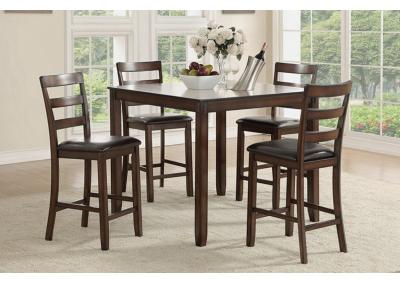 Image for 5PCS HEIGHT DINING SET WOOD BROWN