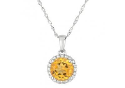 Round Citrine Pendant with Diamonds in 14K White Gold