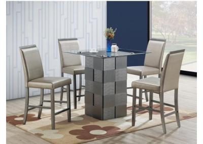 Image for 5pc Silver Counter Height table set