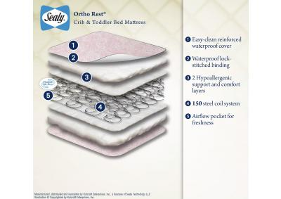 Image for Sealy Ortho Rest Waterproof Infant/Toddler Crib Mattress, Pink