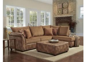 Image for Padre Nailhead Almond Color Sectional w/ Ottoman