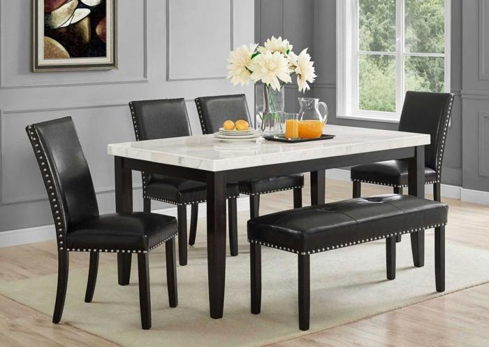 Table w/ 4 Chairs & Bench, Real Genuine Marble,Instore Products