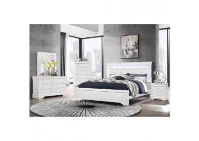 Image for Pompei White Queen Bedroom Set W/ Dresser, Mirror, Chest and Nightstand