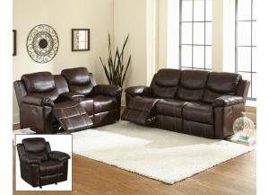 Image for Chestnut Double Reclining/Gliding Console Loveseat