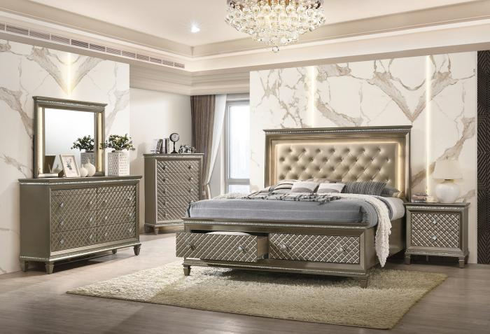 Lifestyle 8305 Champagne Nightstand,Home Gallery Showcase