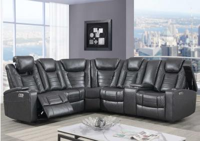 Global U1867 3pc Power Reclining Sectional W/Drop Down Table, Storage Arms, LED lights, and Cup Holders,InStore ONLY