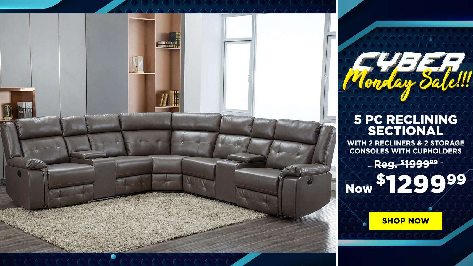 5 Pc Power Reclining Sectional $1299.99
