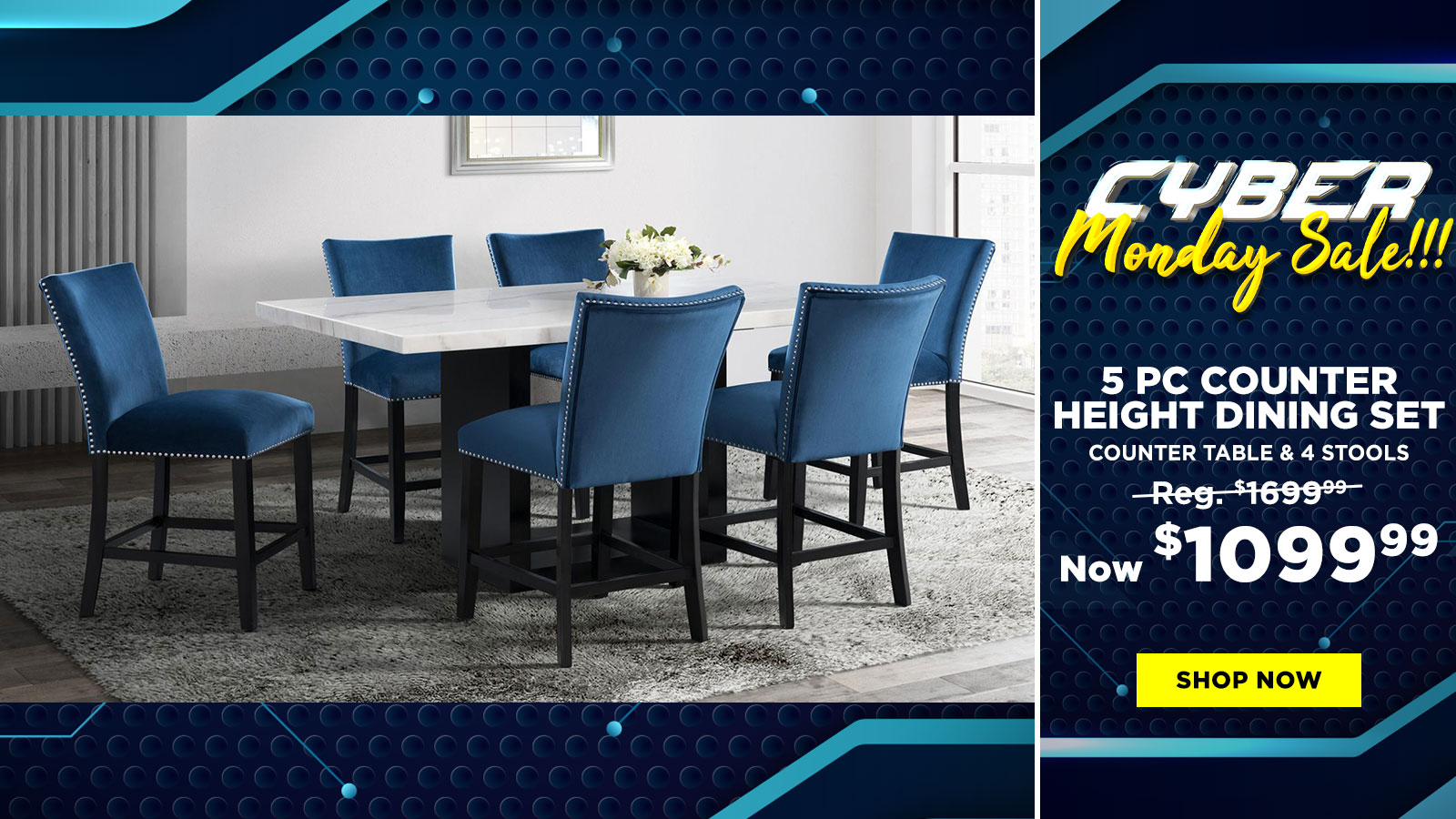 5 Pc Counter Height Dining Set $1099.99