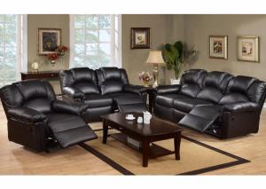 Image for Black Leather Reclining Sofa & Loveseat