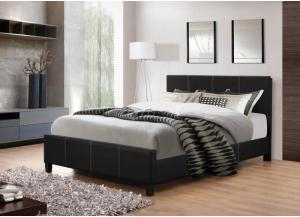 Image for Black Leather Full Bed Frame