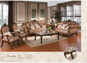 Image for  CECILA VICTORIAN ERA BROWN FABRIC UPHOLSTERY WITH DECORATIVE WOOD TRIMS AND ACCENT PILLOWS SOFA SET