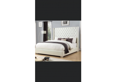 Image for White Leather Bed King