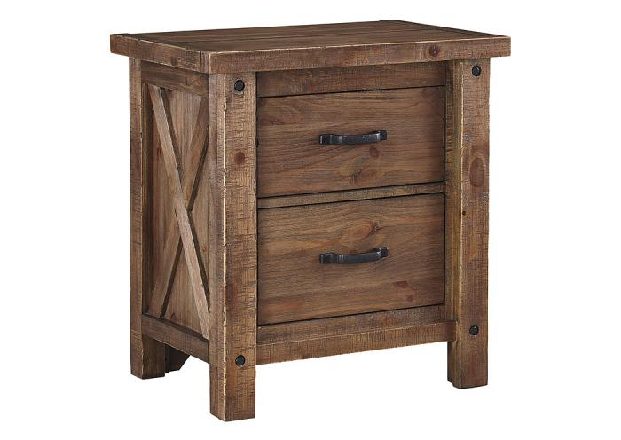 Tamilo Gray/Brown Two Drawer Nightstand,Furniture Wholesale to the Public