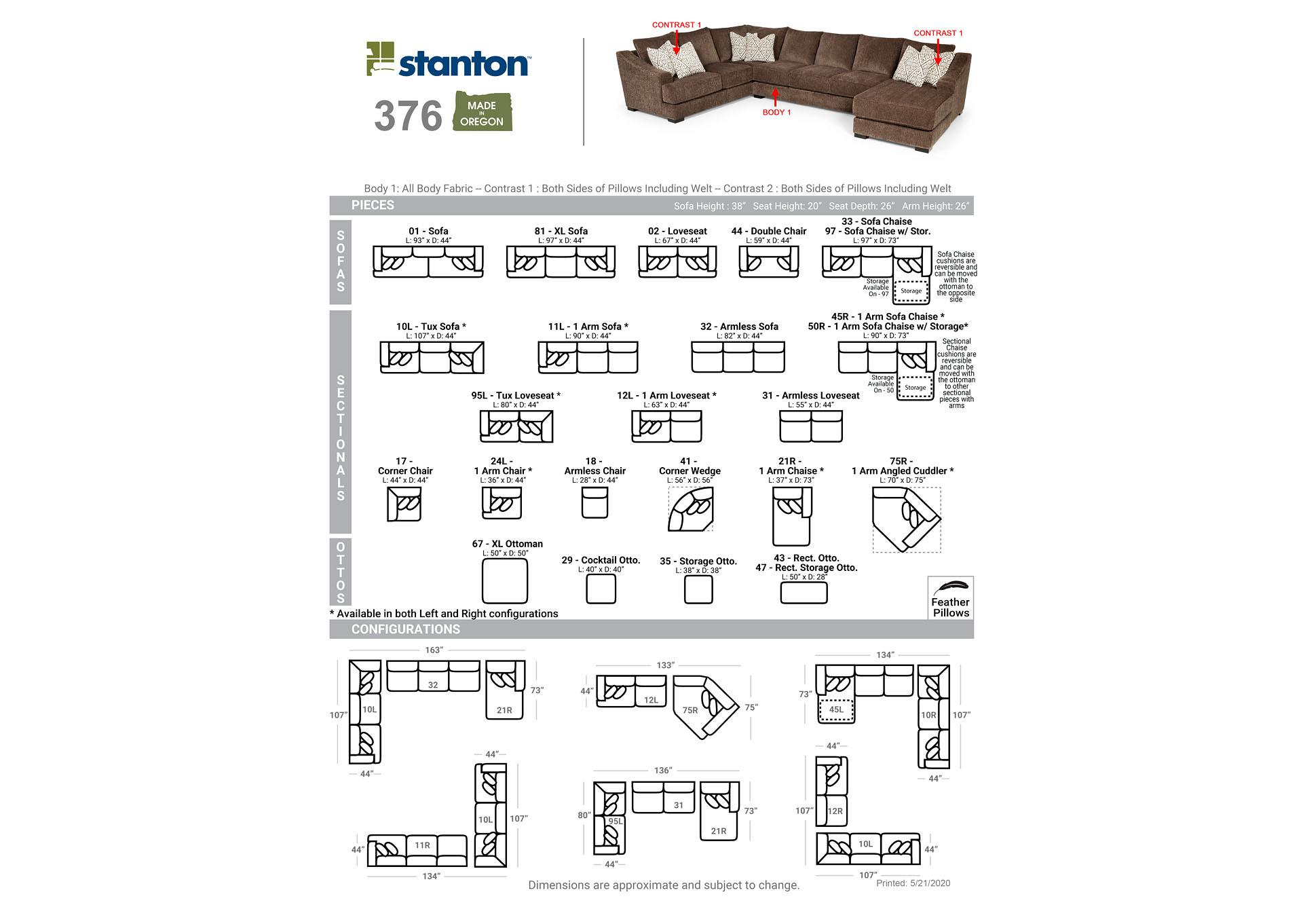 Lux Iron 3 Piece Sectional,Stanton
