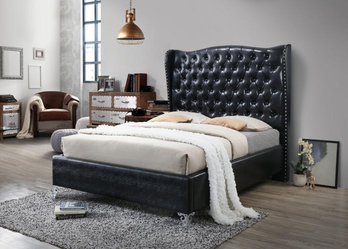B0390 Black Queen upholstered bed,Harlem In-Store