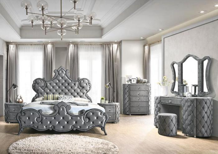 Queen Bed w/Vanity Set, Chest and Nightstand,Harlem In-Store
