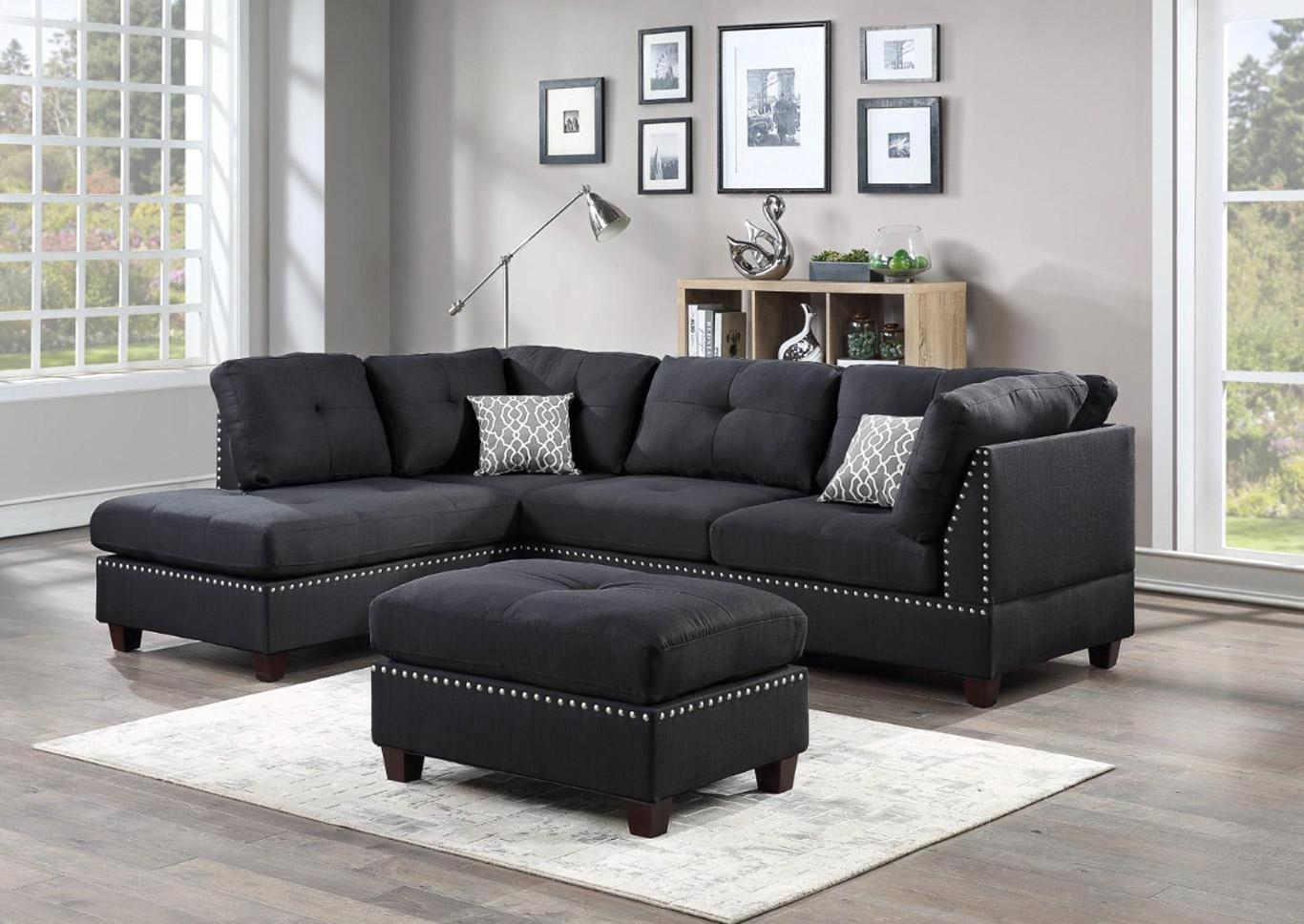 Dark Sectional - Free Ottoman with Purchase,Harlem In-Store