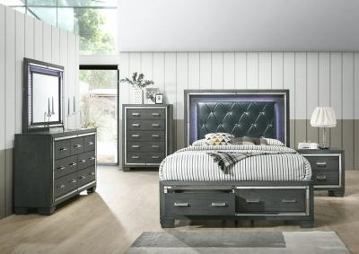 14.5 Gray 5 Piece Bedroom Set (queen bed w/Dresser, Mirror, Chest and Nightstand)