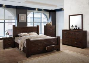 Brown Queen Storage Poster Bed w/Dresser, Mirror, Chest and Nightstand
