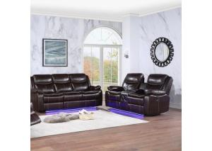 Image for Power Reclining Sofa & Power Reclining Console Loveseat with LED Lights