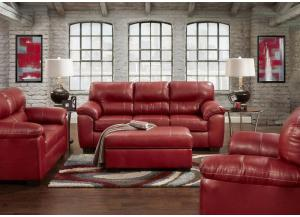 "Image for Red ""Leather Look"" Loveseat"