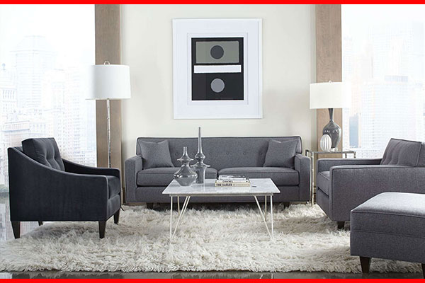 Gray sofa couch and loveseat