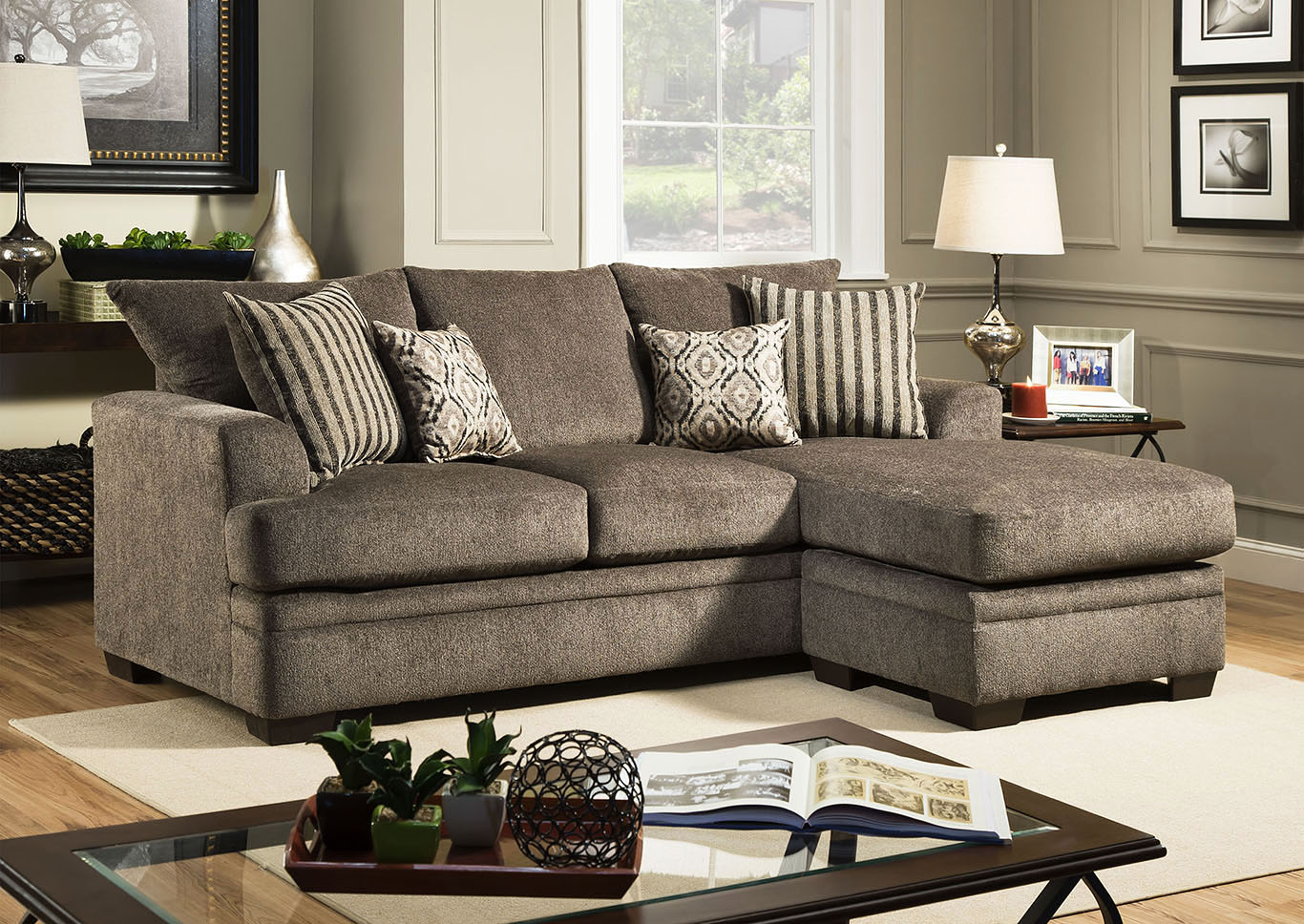 Lacey Grey Sofa Chaise Huffman Koos Furniture