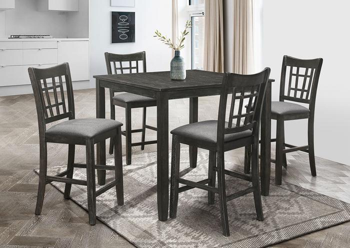 5PC Wood Counter High dining table Set , table and 4 Chairs in Distressed Antique Black,Instore Products