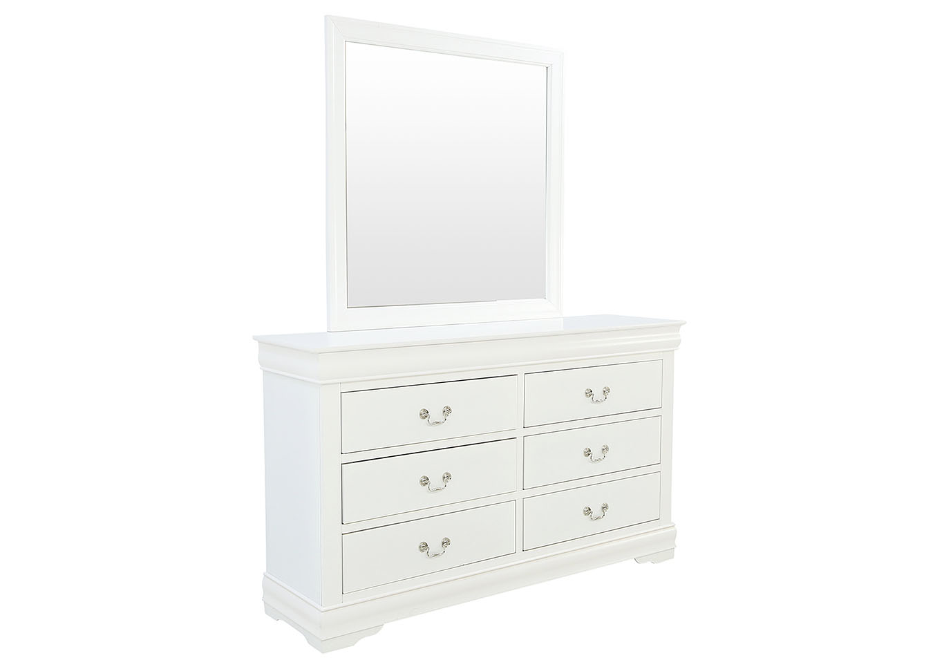 LOUIS PHILIP WHITE DRESSER AND MIRROR,CROWN MARK INT.
